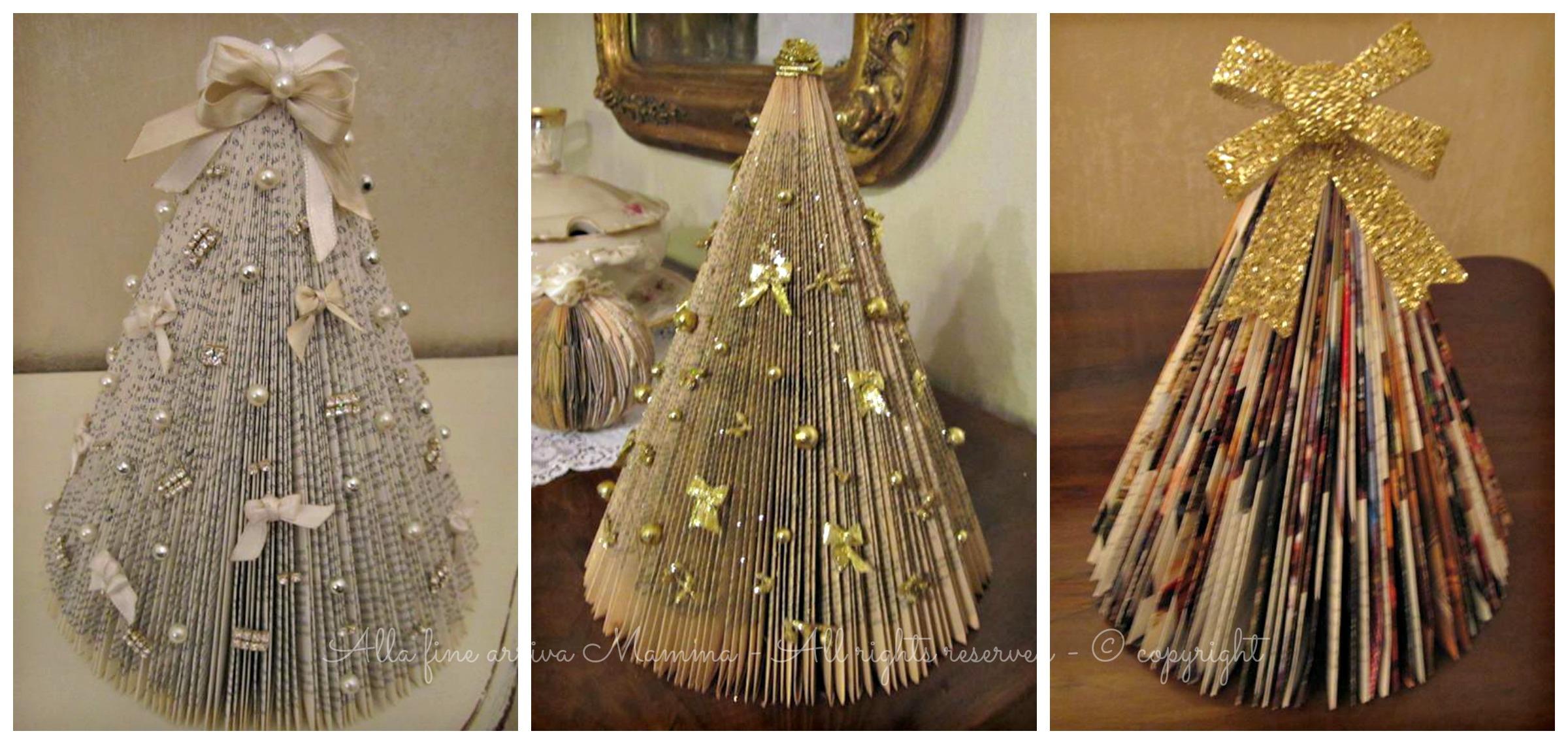 Albero natale di carta fai da te ed ecologico - Decorazioni natalizie albero fai da te ...