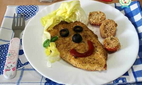 COTOLETTA E POMODORINI AL FORNO SMILE