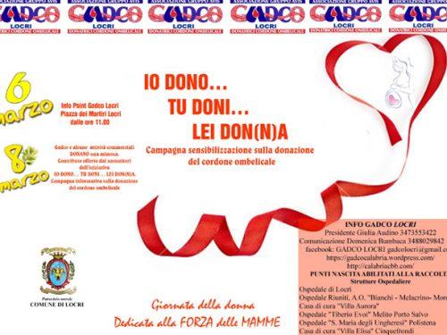 Gadco Locri organizza Io Dono… Tu Doni… Lei Don(n)a!
