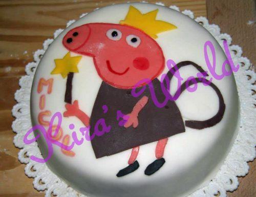 Torta di Peppa Pig fatina in 2D in pasta di zucchero