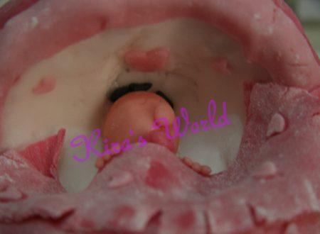 Torta per il battesimo in pasta di zucchero