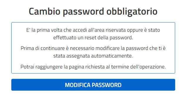 Cambio password obbligatorio