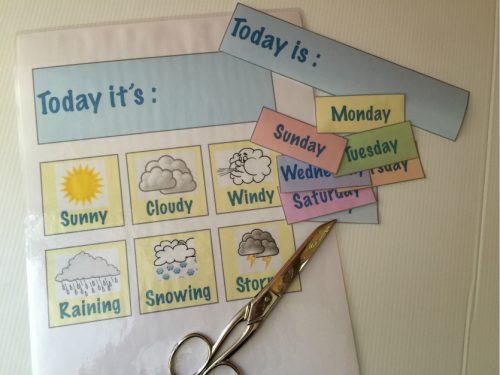 Tabella giorni della settimana e meteo – Fun English