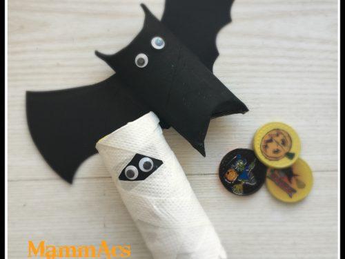 lavoretto Halloween – porta dolcetti pipistrello e mummia