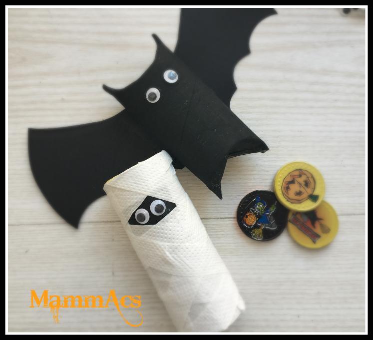 Lavoretto halloween porta dolcetti pipistrello e mummia