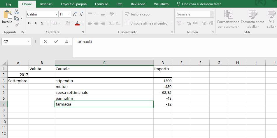 Gestione delle spese familiari con Excel