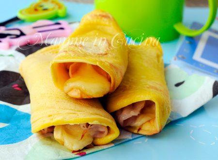 Pancake salati arrotolati farciti ricetta per bambini veloce