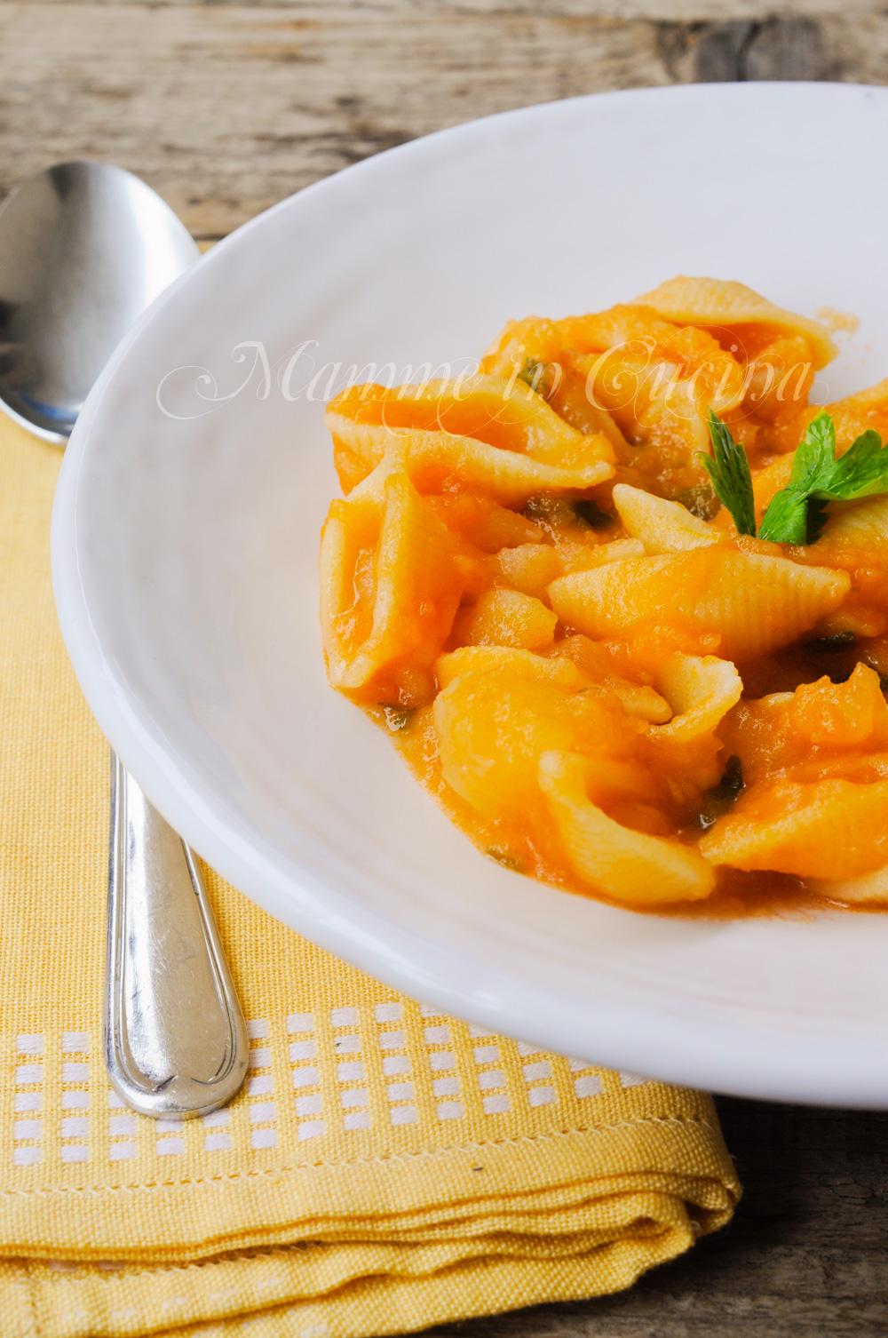 Pasta con patate e zucca ricetta facile primo piatto vickyart arte in cucina