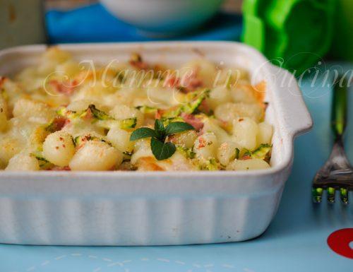 Gnocchi prosciutto e zucchine al forno ricetta veloce